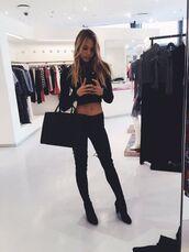 top,alexis ren,black top,crop tops,bag,black bag,handbag,jeans,black jeans,boots,over the knee boots,model