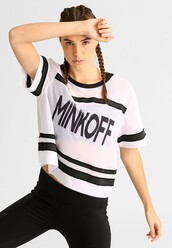 top,sportswear,white top,sports top,rebecca minkoff,printed t-shirt,braid,black and white,zalando
