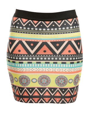 Vindictive aztec print mini tube skirt