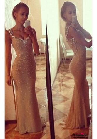 dress long prom dress gold prom dress sexy dress sexy long dress sexy prom dress gold dress sequins sequin dress mermaid prom dress beaded dress