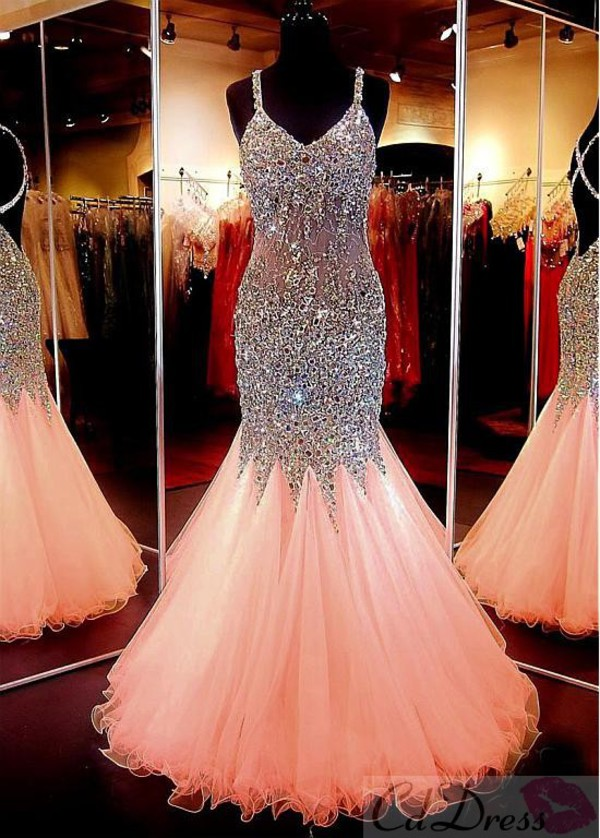 Exclusive V-neck Backless Tulle Crystal Detailing Trumpet/Mermaid ...