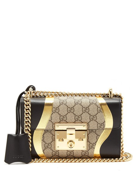 gucci cross bag gold black