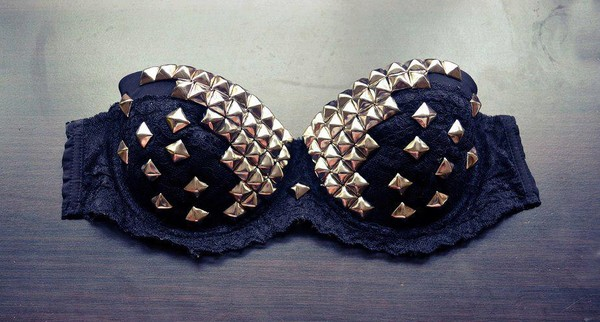 underwear clothes black rivet rivets gold bra navy
