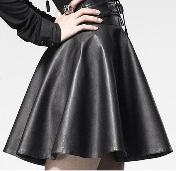 skirt skater skirt black leather leather skirt