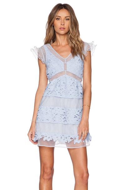 J.O.A. dress lace dress lace blue