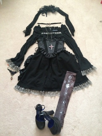 dress goth gothic lolita gothic gothic dress lolita black dress black cross outfit