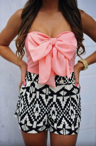 top pink big bow crop tops shorts black white tribal pattern High waisted shorts