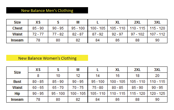 new balance clothing size guide Limit