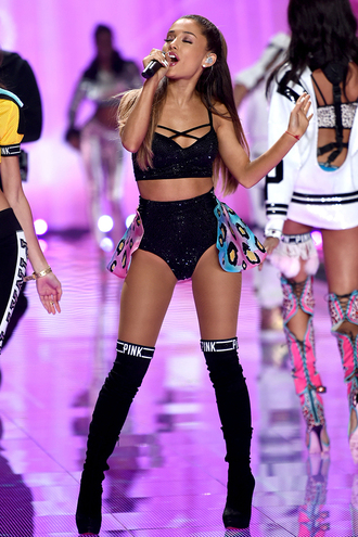 top underwear bra sequins ariana grande victoria's secret boots over the knee boots shoes pink by victorias secret skirt pajamas sunglasses socks shorts make-up