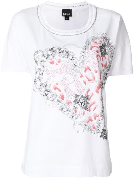 just cavalli t-shirt shirt t-shirt heart women white cotton print top