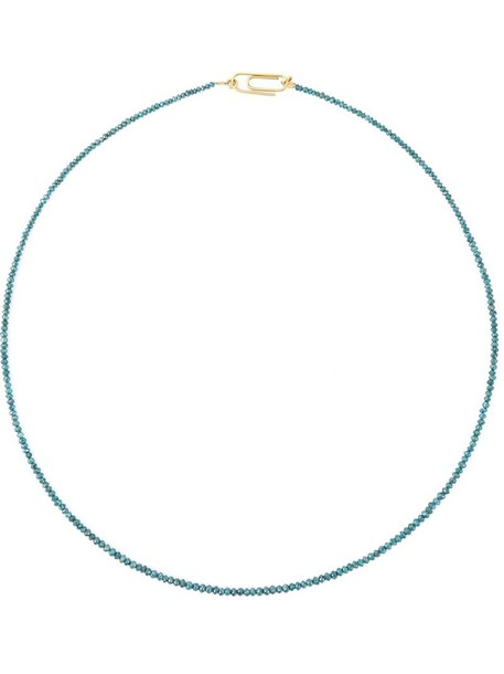 Uzerai Edits women necklace diamond necklace gold blue yellow grey metallic jewels