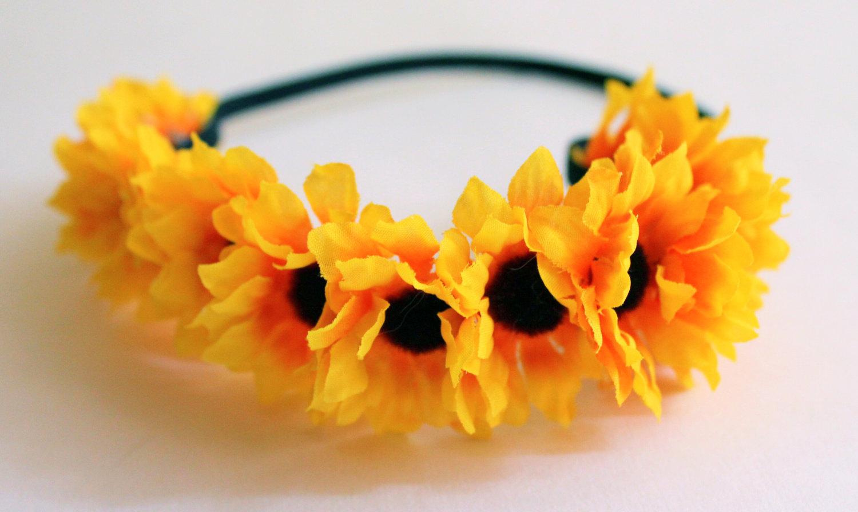 Sunflower Headband Elastic Flower Headband Adjustable Flower