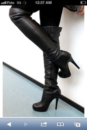 shoes,leather boots,fall outfits,winter outfits,thigh high boots