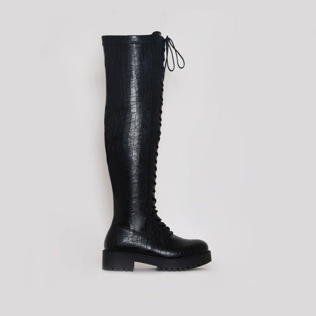 Manny Black Croc Print Flat Over Knee Boots