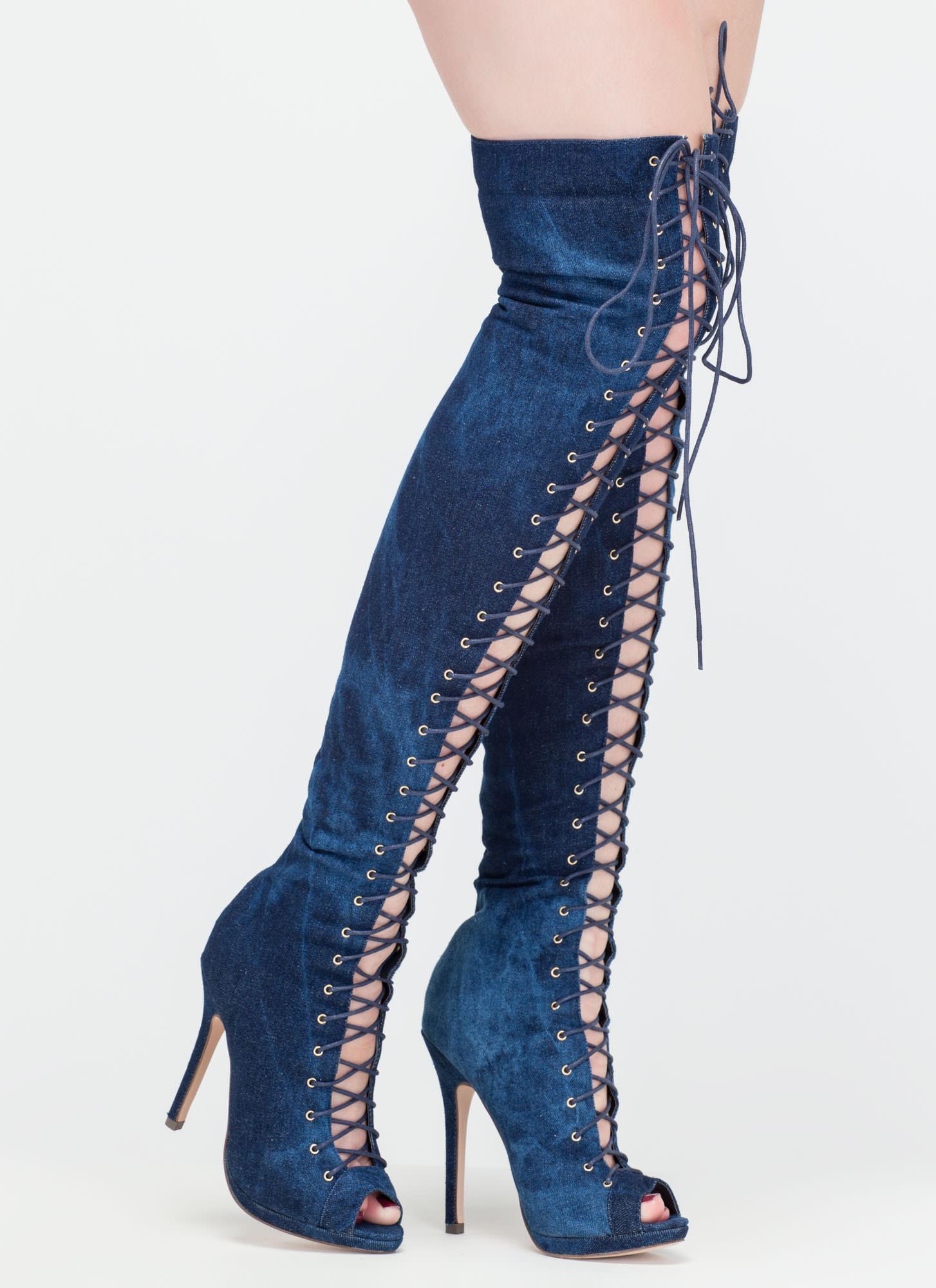 Denim Over-The-Knee Boots GREY BLACK DENIM - GoJane.com