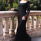 Elegant evening dress - black lace dress