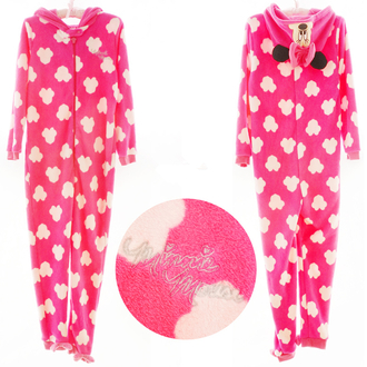 pajamas pink clouds cute kawaii cozy warm minnie mouse disney hot pink onesie kigurumi sleepwear teenagers hoodie nightwear