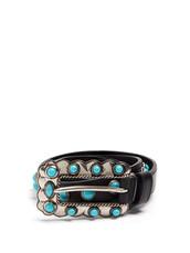 embellished,belt,leather,turquoise,black
