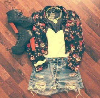 jacket flowers shorts tank top jewels shoes