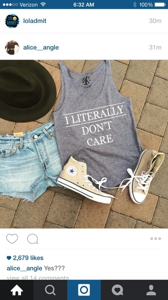 top grey tank top muscle tee shoes shorts hat