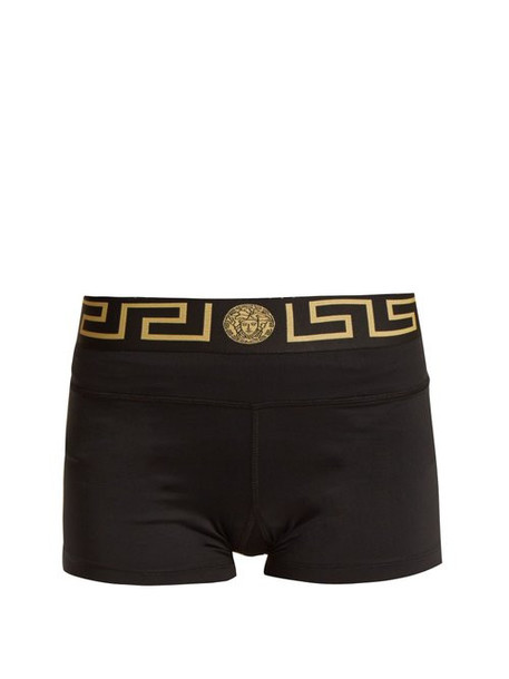 Versace - Logo Print Performance Cycling Shorts - Womens - Black Gold