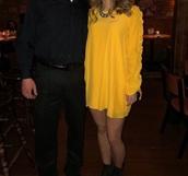 dress,yellow dress,long sleeve dress,swing dress