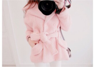 jacket cardigan belt pink korean fashion korean style asian fashion ulzzang japanese kawaii girly winter outfits spring white pants jeans bag cute coat asian