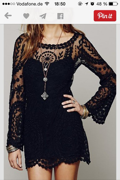 dress black lace dress lace see through