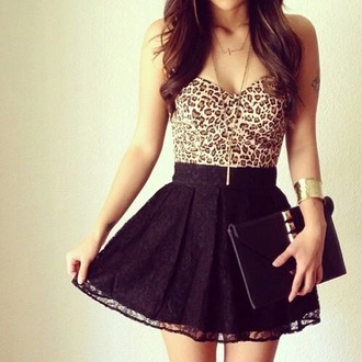 dress leopard print dress leopard print top black skirt