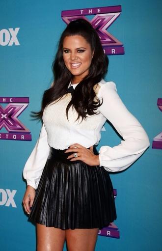 dress black and white leather skirt keeping up with the kardashians khloe kardashian white blouse neck tie