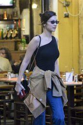 top,asymmetrical,asymmetrical top,black top,bella hadid,model off-duty,streetstyle