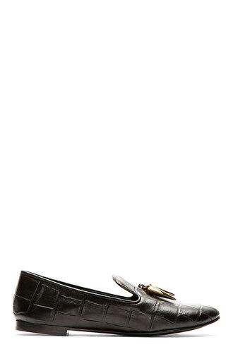 shoes flat black women flats croc embossed dalila