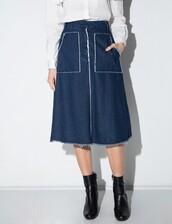 skirt,denim frayed midi skirt,midi skirt,denim midi skirt,frayed midi skirt,cute denim skirt,denim,pixiemarket,korean fashion,frayed denim