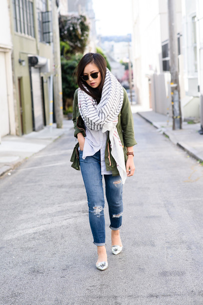 the fancy pants report blogger ripped jeans army green jacket infinity scarf shirt jacket scarf sunglasses jeans striped scarf