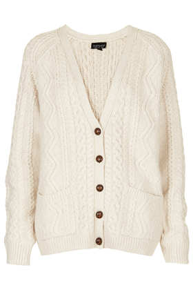 Knitted Angora Cable Cardi - Topshop