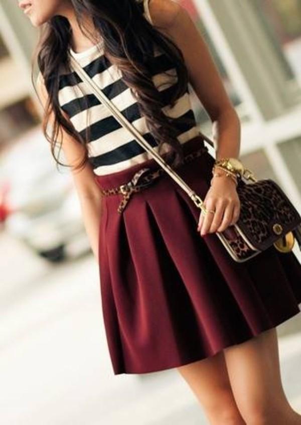 skirt shirt bag wine red top black and white black white