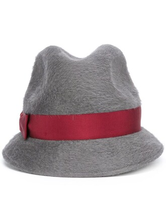 bow fur women hat grey