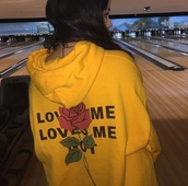 jacket,hoodie,yellow,rose,sweater,love me not,roses,mustard,mustard sweater,tumblr