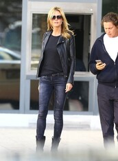 jeans,heidi klum,streetstyle,fall outfits,jacket,boots,shoes
