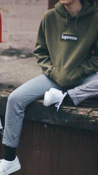 pants blue grey grey blue cropped supreme cropped trousers