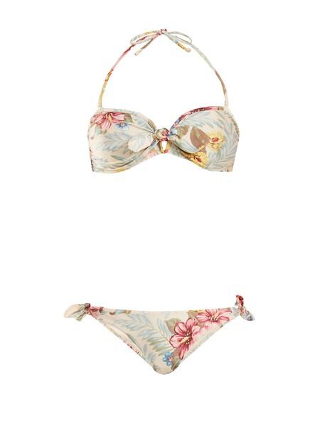 bikini bandeau bikini floral print blue swimwear