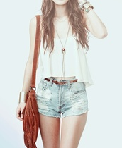 shirt,tank top,white,short top,shorts,sexy,lovely,belt,cute,outfit,outerwear,pretty,jeans,brown,country,western,modern,trendy,bag,tumblr,hair,weheartit,fashion,teenagers,topshop,top,jeans with a high waist