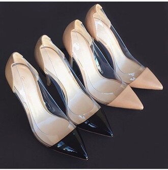 shoes heels black pink transparent nude heels high heel pumps