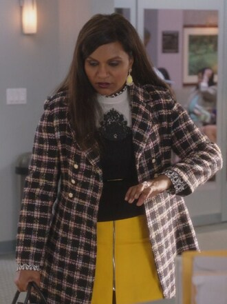 shirt white print yellow skirt zipped mindy kaling mindy lahiri the mindy project
