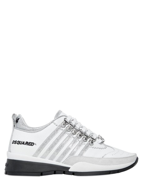 Dsquared2 glitter sneakers leather silver white shoes