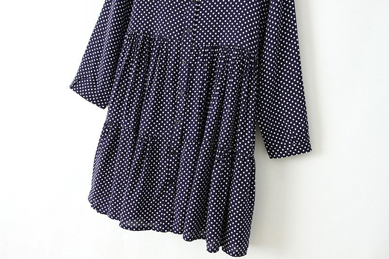 Navy Lapel Long Sleeve Polka Dot Pleated Dress - Sheinside.com