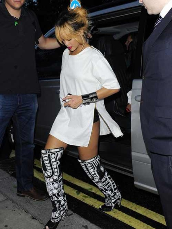 slit dress slit rihanna rihanna style white dress boots blouse top topshop thigh highs shoes