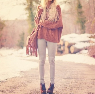 sweater boots bag slim fall sweater fall outfits oversized sweater pants shoes