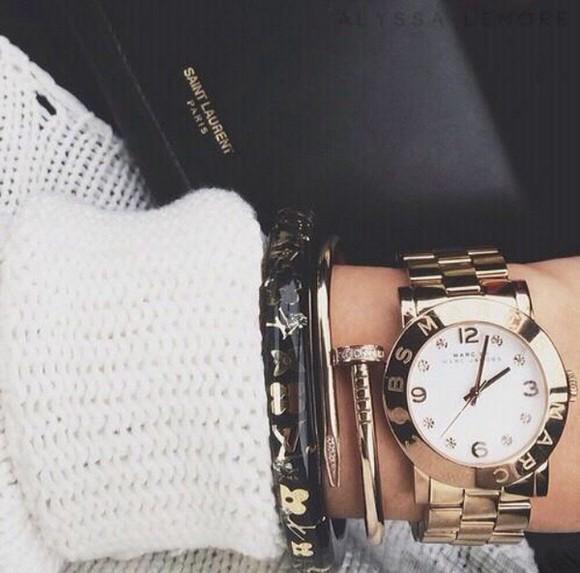 jewels gold black watch bracelets gold bracelets gold watch marc jacobs marc jacobs watch louis vuitton yves saint laurent black handbag handbag