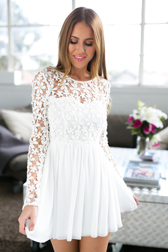 dress white white dress lace dress long sleeves crochet crochet daisy party dress